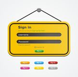 Login form - yellow sign style Royalty Free Stock Photo