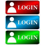 Login geplaatste pictogrammen Royalty-vrije Stock Afbeelding