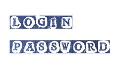 Login. Grunge word login and password terms on white background Stock Image