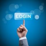 Login. hand man pressing login button. Stock Photography