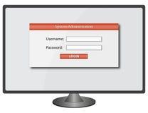 Login het scherm - gebruikersbenaming & wachtwoord Stock Foto's