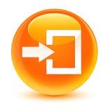 Login icon glassy orange round button Royalty Free Stock Photo