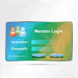Login interface. Log-in interface  with polygonal background Royalty Free Stock Photo