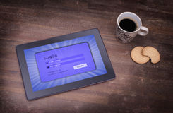 Login interface on tablet - username and password Stock Image