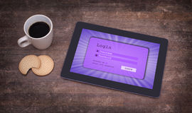 Login interface on tablet - username and password Stock Photography