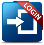 Login blue square button red ribbon in corner. Login isolated on blue square button with red ribbon in corner abstract illustration Stock Photo