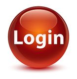 Login glassy brown round button Royalty Free Stock Photo