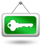 Login key sign. Login key green sign over white Royalty Free Stock Image