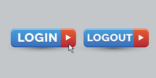 Login Logout button set stock illustration
