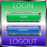 Login and logout buttons on a color reflective surface royalty free illustration