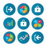 Login and Logout icons. Sign in icon. Locker. Stock Photo