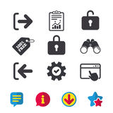 Login and Logout icons. Sign in icon. Locker. Royalty Free Stock Photography