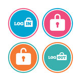Login and Logout icons. Sign in icon. Locker. Stock Images