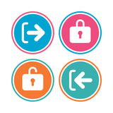 Login and Logout icons. Sign in icon. Locker. Royalty Free Stock Images
