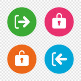 Login and Logout icons. Sign in icon. Locker. Royalty Free Stock Photo
