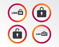 Login and Logout icons. Sign in icon. Locker. Stock Photography