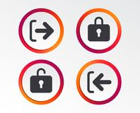 Login and Logout icons. Sign in icon. Locker. stock illustration