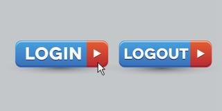 Login Logout knoopreeks Stock Foto