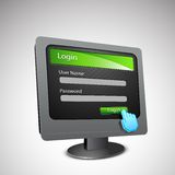 Login Page on Computer Screen Stock Photography