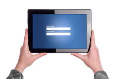 Login Page on Digital tablet Computer Royalty Free Stock Photo