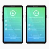 Login pagina en vergat het ontwerp van de wachtwoordvorm voor mobiele app Gebruikersinterfacemalplaatje voor smartphonetoepassing royalty-vrije illustratie