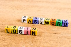 Login and passwod written with cube Royalty Free Stock Photo