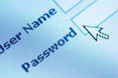 Login  password. On lcd screen macro Royalty Free Stock Photo