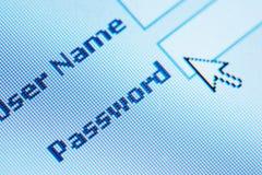 Login password. On lcd screen macro royalty free stock photo