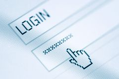 Login and password. In internet browser on computer screen stock images