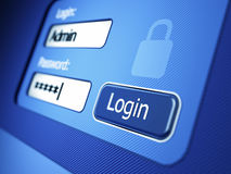 Login and password. 3d render Stock Images
