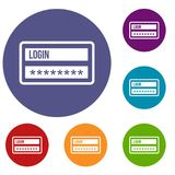 Login and password icons set Stock Photography