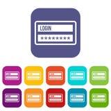 Login and password icons set Stock Photo