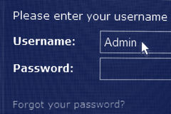 Login and password screen. Screen of authentication page with login and password Stock Image