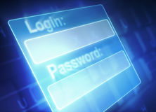 Login and Password. Security system: fields for login and password Royalty Free Stock Photo