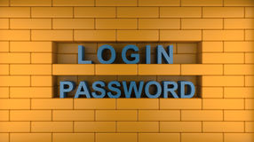 Login, password and wall Stock Photo