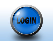 Login pictogram Cirkel glanzende knoop Stock Afbeelding