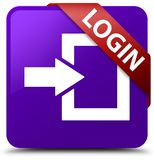 Login purple square button red ribbon in corner. Login isolated on purple square button with red ribbon in corner abstract illustration Stock Image
