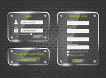 Login and register screens Stock Photos