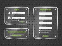 Login and register screens Stock Photos