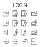 Login related vector icon set. Royalty Free Stock Image