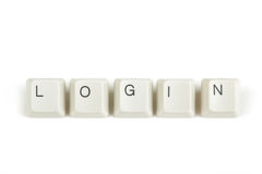 Login from scattered keyboard keys on white Stock Images