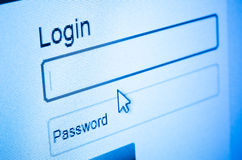 Login screen. Login and password on computer screen royalty free stock photo