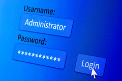 Login screen. Username and password in internet browser on computer screen Stock Photography