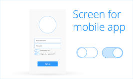 Login screen for mobile app Royalty Free Stock Image
