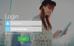 Login screen with redheaded woman and pad Royalty Free Stock Photos