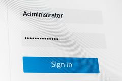 Login screen. Username and password on computer screen Stock Images