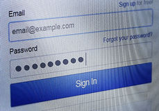 Login sequence Royalty Free Stock Image