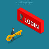 Login Sign in button Keyhole key flat isometric vector 3d Stock Photography