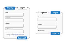 Login and Signup forms Stock Photo