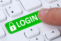 Login submit with password registration online on internet Stock Photography
